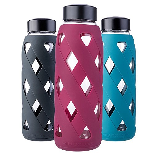 MIU COLOR – 790 ml botella de agua de cristal botella con funda d