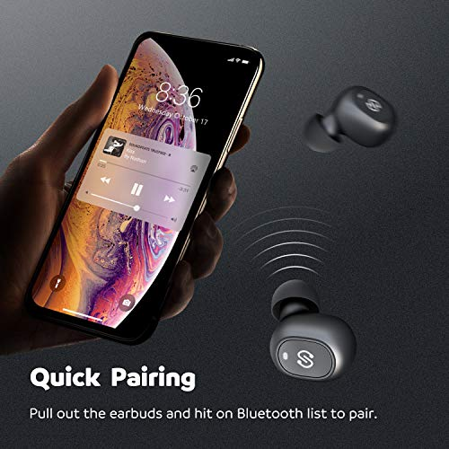 SoundPEATS Bluetooth 5.0 kabellose Kopfhörer True Wireless TWS Bluetooth Kopfhörer in Ear Mini Headset Sport drahtlose Ohrhörer IPX6 mit Ladebox Mikrofon automatische verbinden iPhone Huawei Samsung - 4