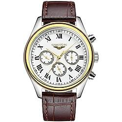 GUANQIN GQ25 - Reloj de cuarzo para hombre con correa de cuero, color dorado y marrón