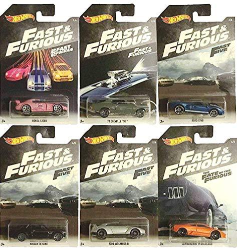 Komplettes Set 6 Modellautos DieCast Fast and Furious 1/64 6cm Original Hot Wheels Bundle Fast Five Fate of The Furious Suki Dom Brian DK Han