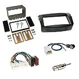 Einbauset : Autoradio Doppel-DIN 2-DIN 2 DIN Blende Einbaurahmen Radioblende schwarz + ISO Radio KFZ Adapter Radioadapter / Radioanschlusskabel + Antennenadapter für Toyota RAV4 (CA30W) 2006 -> 03/2013 (EU-Version)