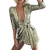 iYmitz Damen Offenen Sommer V-Ausschnitt Abendkleid Pailletten Partykleidhalbes Kleid Elegant Maxikleid Hochzeit(Gold,EU-36/CN-M)