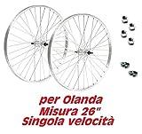 COPPIA RUOTE bicicletta Olanda - bici Classica - Misura 26' x 1 3/8 + FLAP e DADI