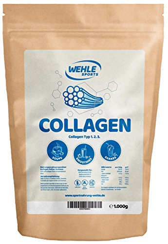 Collagen-Pulver 1kg - Kollagen-Hydrolysat - Eiweiß-Pulver Geschmacksneutral - Wehle Sports - Made in Germany Kollagen Typ 1 2 3 Lift Drink
