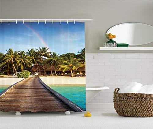 Green Island Resort (KRISTI MCCARTNEY Wooden Bridge Decor Collection, Island Beach Resort Colorful Rainbow Over Palm Trees Style, Polyester Fabric Bathroom Shower Curtain Set with Hooks, 75 inches Long, Green Beige Aqua)