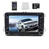 Einbau 17,8cm Digitaler Touchscreen Auto DVD Player GPS Navigation System mit Autoradio Bluetooth-2DIN Autoradio BT für VW Volkswagen Golf Amarok T5Jetta EOS Caddy Polo mit Canbus + 8GB Auto GPS MAP