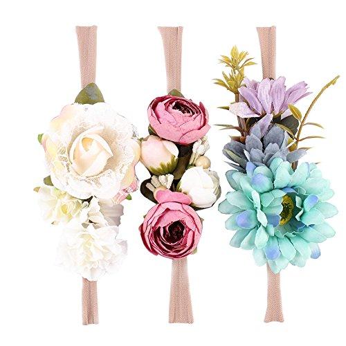 iKulilky 3Pcs Baby Blumen Stirnbänder Haarbögen weichen Gummibändern Haarbänder Kopfband Newborn Flower Crown Kranz Turban Fotografie (Blumen-stirnband Crown)