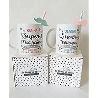 2 Mugs cadeaux personnalisés, pour un super parrain et une super marraine