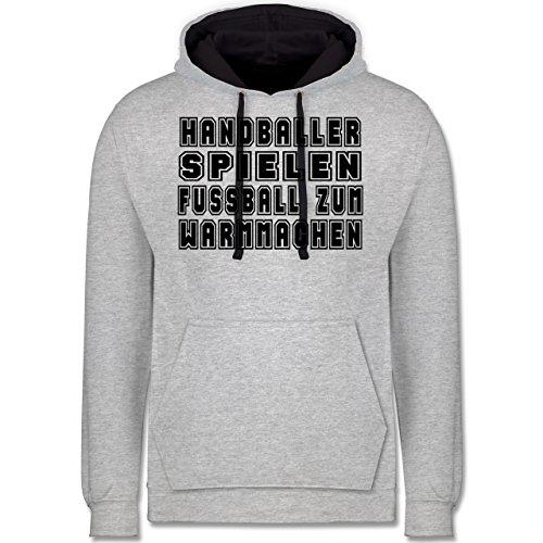 Handball - Handballer Spielen Fußball Zum Warmmachen - Kontrast Hoodie Grau meliert/Dunkelblau