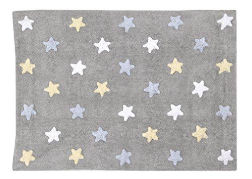 Alfombra lavable Lorena Canals C-ST-B Tricolor Stars Grey-Blue - 120 x 160 cm