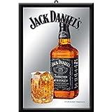 Jack Daniels Bottle with Glass Flasche und Glas Nostalgie Barspiegel Spiegel Bar Mirror 22 x 32 cm