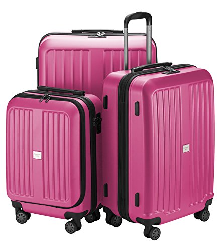 HAUPTSTADTKOFFER X-Berg - Set di 3 valigie - Bagaglio a mano, Trolley medio, Valigia grande ABS, TSA  258 litri, Rosa