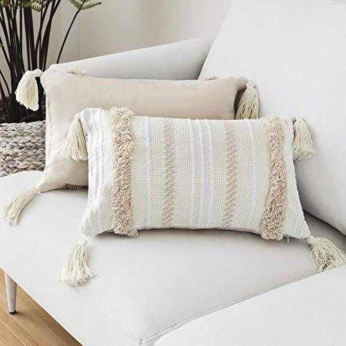 LOMOHOO - Funda de Almohada Moderna, diseño geométrico con borlas y Tejido de Color Beige, algodón...