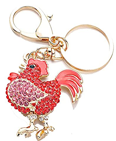 SaySure - Chicken Keychains Rhinestone Crystal Trinket Key ring (Civic Drum)