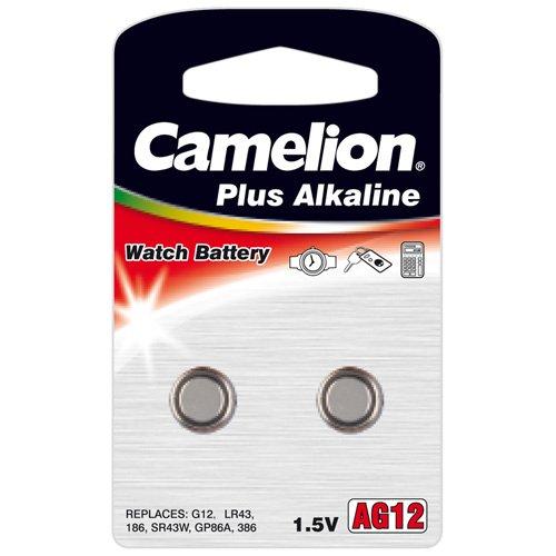 Camelion 12000212 Pack de 2 Piles Bouton Alkaline AG12/LR43/LR1142/386 1,5 V