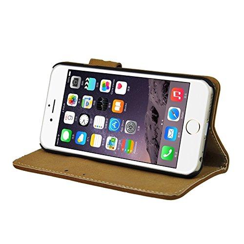 Wkae Case Cover Angibabe Frosted Horizontal-Schlag-Leder-Kasten mit Halter & Card Slots & Wallet für iPhone 6 & 6S ( Color : White ) Brown