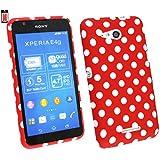 Emartbuy® Sony Xperia E4g / Xperia E4g Dual LCD Displayschutz And Gel Haut Kasten Abdeckung Polka Dots Rot