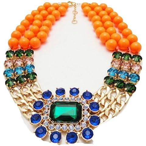 WIIPU nuevo diseño Naranja Cuentas Cadena Babero Declaración Collar Crystal longitud 48cm (wiipu-c114)