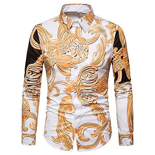 Iyfbxl camicia slim da uomo - colletto con stampa floreale/manica lunga, oro, m