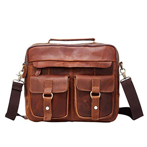 Leder Herren Tasche Vintage Tote Casual Business Schulter Messenger Bags,D-26*32*9cm