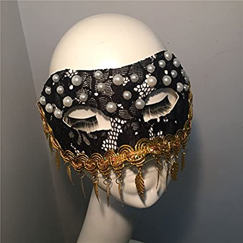 HUAXI Foglie d'oro a mano su misura con perle artificiali, nappe maschere, maschera di palco spettacoli, mascherina del partito, festa maschera , black