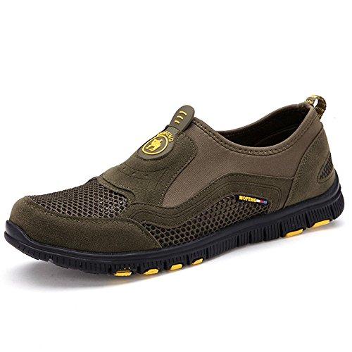 Chaussures de randonnée pour hommes maille cuir extérieur outdoor chaussures de randonnée army green
