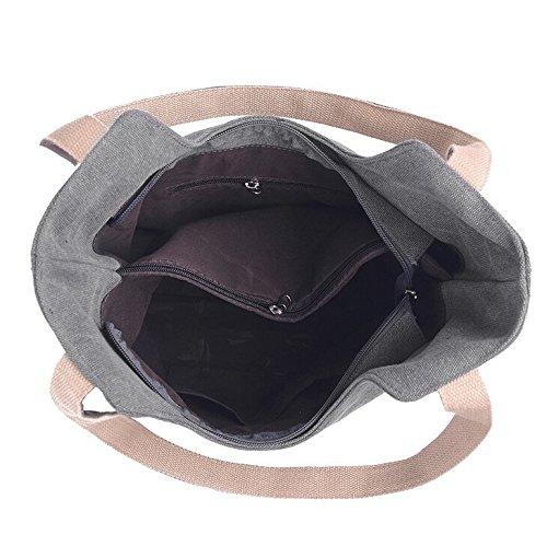 Butterme Frauen Damen lässige Vintage Leinwand Tagesgeldbeutel Top Handle Umhängetasche Tasche Shopper Handtasche Grau
