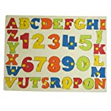 FunBlast™ Wooden Learning Letters Alphabets and Numbers Board, Wooden Capital letter (A to Z) and Wooden Numbers (123) with Knobs Colorful Tray for Kids, Multicolor, SIZE:35 X 29 CM