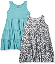 Spotted Zebra Mädchen 2-Pack Knit Sleeveless Tiered Dresses