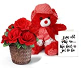 TiedRibbons® Valentine's Day Gifts for Girlfriend Combo(Teddy Bear,Bamboo basket with Bunch of artificial Roses and Valentine's Special Greeting Card)