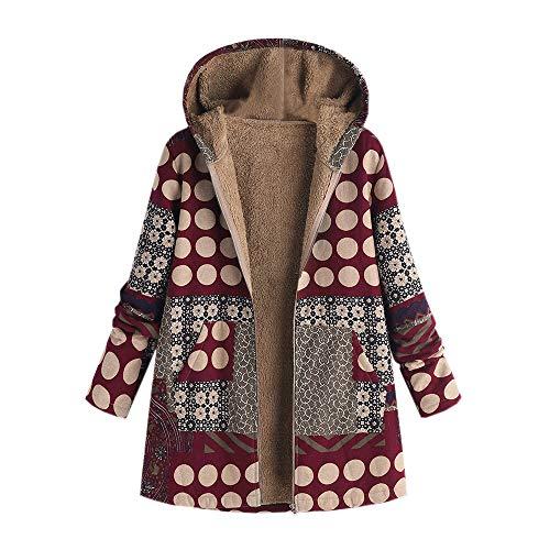 TWIFER Damen Winter Warm Outwear Blumendruck mit Kapuze -
