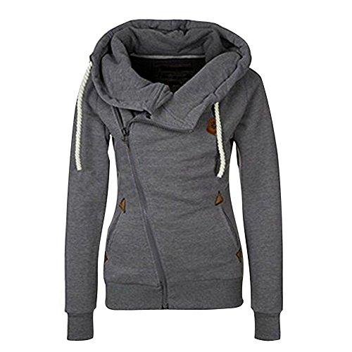 ShallGood Frühling Herbst Damen Sweatshirt Langärmelige Frauen Outerwear mit Kapuzen und Schrägem Reißverschluss Dunkelgrau DE 36