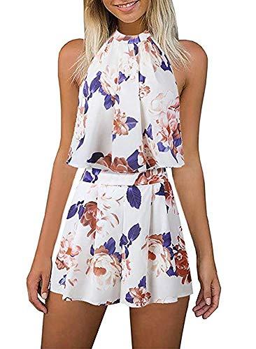 EULLA Damen Jumpsuit Kurz Sommer Blumenmuster Rompers Ärmellos Elegant Schlitz Overall Playsuit Vintage 2 teiliges Outfit mit Kurzen Reizvolle Shorts(Beige,S)