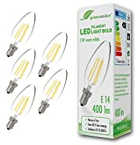 5x greenandco® Glühfaden LED Lampe ersetzt 35 Watt E14 Kerze, 3W 400 Lumen 2700K warmweiß Filament Fadenlampe 360° 230V AC nur Glas, nicht dimmbar, flimmerfrei, 2 Jahre Garantie