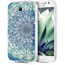 kwmobile Funda para Samsung Galaxy Grand Neo / Duos - Case de cristal plástico para móvil - Cover trasero Diseño flores ornamentales en azul verde transparente