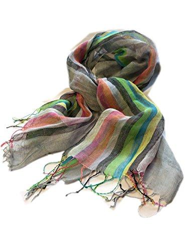 Prettystern - Leinen Schal 180cm lang Regenbogen lange Fransen Sommerschal bunte Streifen - 2 Grau