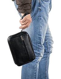 Emila Borsa borsello borsetta pochette da uomo moto a mano piccola in ecopelle casual nero in Pelle PU Nero misure L22xH14xP4