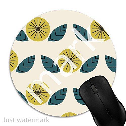 Maus-Pad Retro geometrische Blume,7 inch rund Mouse-Pad mit rutschfester Unterlage Standard 1V2350