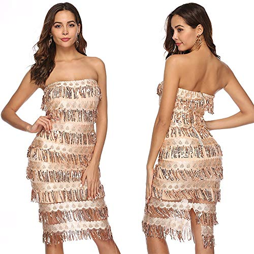 Jackcer Frauen Sexy One Shoulder Pailletten Kleid Glitter Quaste Midi Kleid Bodycon Party Cocktail Abendkleid,Gold,S Sexy Gold-glitter