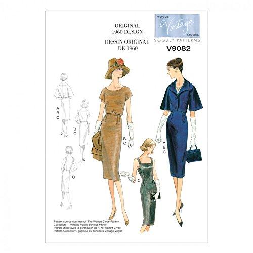 Vogue Damen Schnittmuster 9082Vintage Stil Jacke, Top und Kleid + GRATIS Minerva Crafts Craft Guide Vintage Vogue