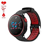 Fitness Activity Tracker Watch IP68 Waterproof Sports Bracelet support phone (black-red)