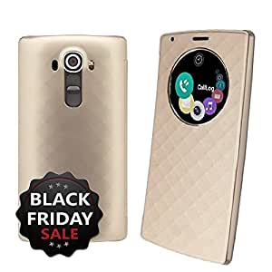 LG G4 Case, Yootech LG G4 Quick Circle Case Wireless Charger Qi Standard Wireless Charging receiver Cover case - with smart wake up/sleep view window - Support NFC and wireless charging function - Retail Packaging - (Gold)