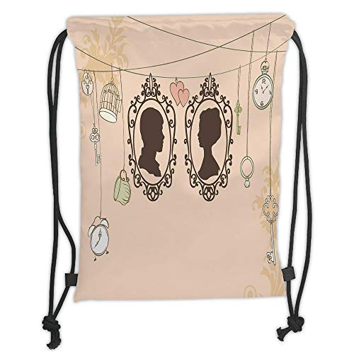 LULUZXOA Gym Bag Printed Drawstring Sack Backpacks Bags,Wedding Decorations,Vintage Silhouette Frames Married Couple French Style Design,Light Pink Dark Brown Soft Satin