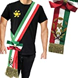 Fascia Lusso Tricolore da Sindaco con Fiocco Frange di Corda Dorate A Nodo Scorrevole per Adulti Made in Italy
