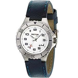 Sector - R3251111345 - 175 - Montre Femme - Quartz Analogique - Cadran Blanc - Bracelet Cuir Bleu