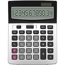 Taschenrechner, Helect Geschäft Standard-Taschenrechner Dual-Power (Solar und Batterie) Tischrechner - Silber
