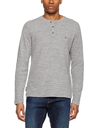 Tommy Hilfiger Herren Sweatshirt Bram Henley L/S RF, Grau (Silver Fog Htr 043), Medium