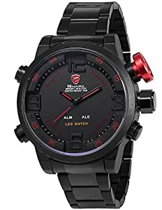 Shark Mens LED Quartz Wrist Watch Extra Large Case with Date Day Display Alarm SH105