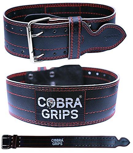 Gewicht Power Lifting Gürtel 10,2cm breit Cobra Grips Premium Echt Leder Gürtel für Herren und Damen verstellbar Gewichtheben Rückenstütze, rot -