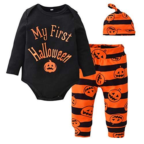 Fenical i miei primi costumi di halloween costumi di halloween manica lunga pagliaccetto di zucca pagliaccetto a righe e cappello set di abiti neonati maschi 90cm (nero)